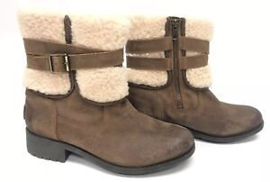 f5739c56e43 Details about UGG Australia Blayre III Boot 1095153 Chipmunk Leather  Shearling Buckle Moto