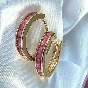 Gold-Hoop-Earrings-each-with-9-Rubies-20mm-x-4mm-GIFT-BOXED-18-carat-gf-CRUISE