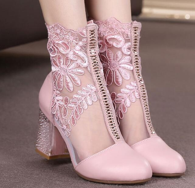 Women's Mesh Lace Floral Ankle Boots Sandals Sexy Block High Heel Shoes Chic F56