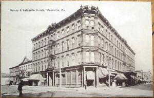 Image Is Loading 1910 Meadville Pa Postcard Halsey Amp Lafayette Hotels
