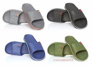 28348fbaed724 Mens Slip On Sport Slide Sandals Flip Flop Shower Shoes Slippers ...