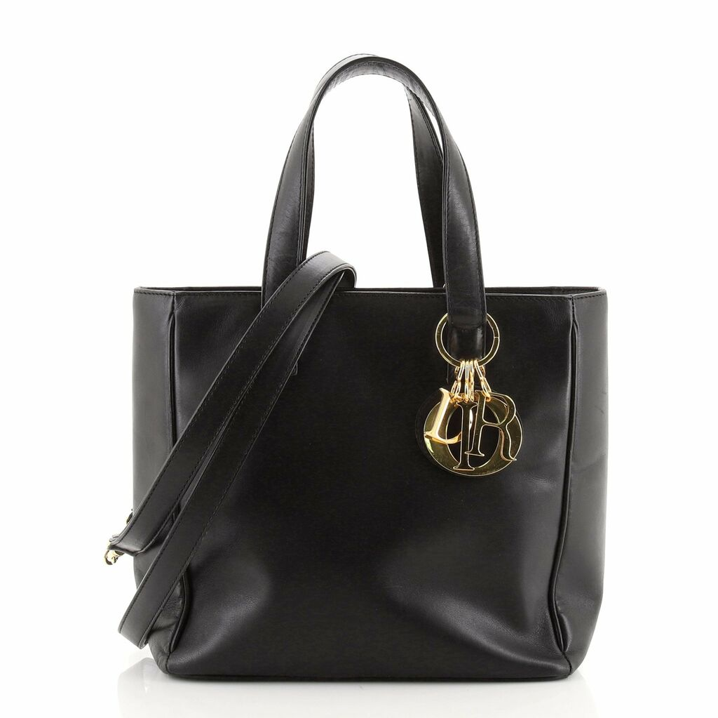 Christian Dior Vintage Convertible Charm Tote Leather Small    eBay