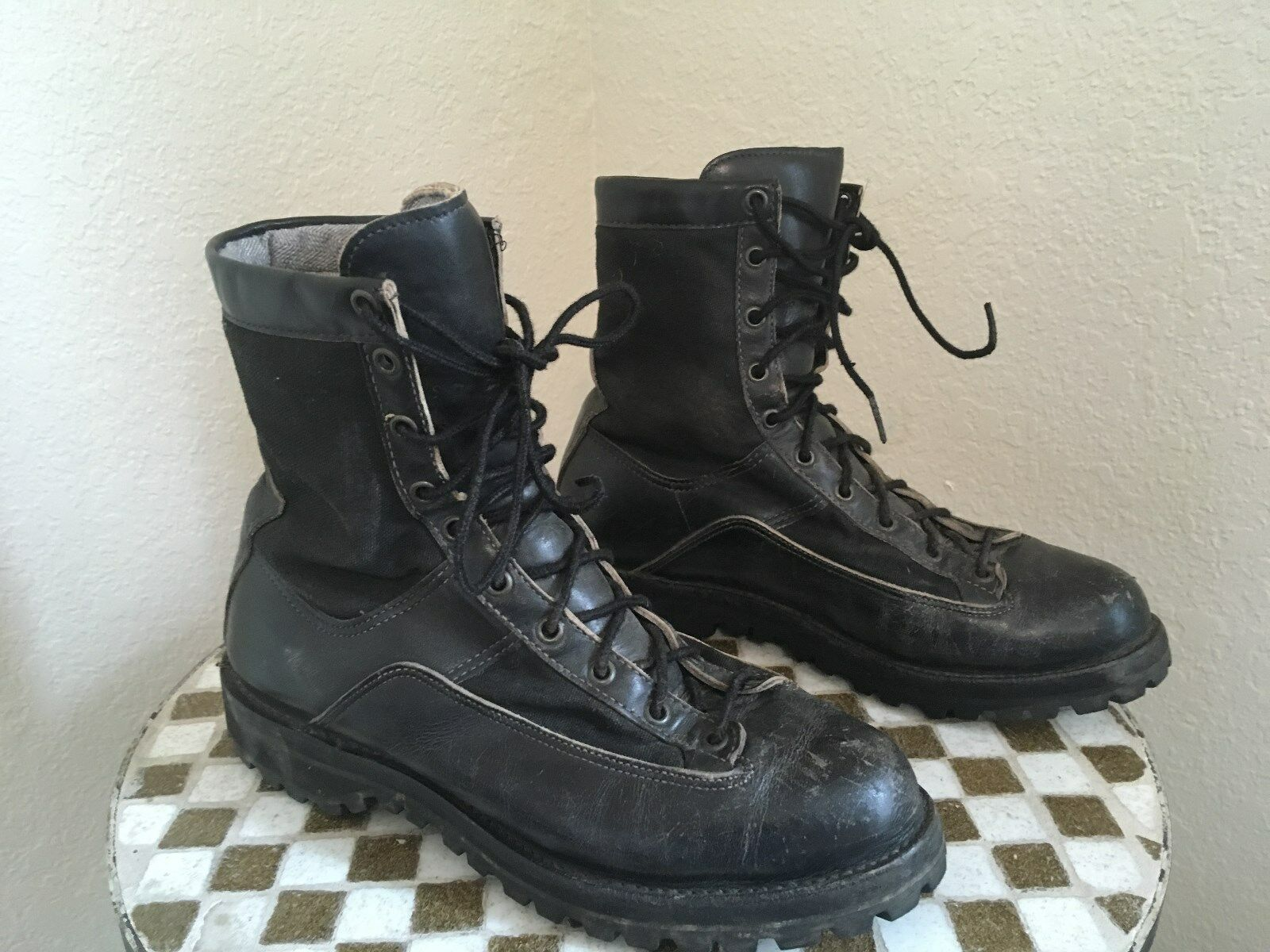 MADE MADE MADE IN USA DISTRESSED VINTAGE DANNER schwarz MILITARY LACE UP DRILL Stiefel 9 D 981ebe