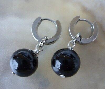 1 Paar Edelstahl Creolen Ohrringe 13,5 X 4 Mm M.12 Mm Schwarze Onyx Kugel