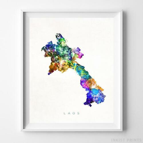 Laos Watercolor Map Wall Art Home Decor Poster Artwork Gift Print UNFRAMED