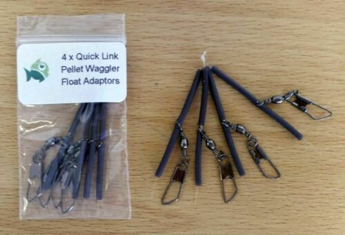 Black Silicone and Stainless Steel Pellet Waggler Quick Link Float Adaptors