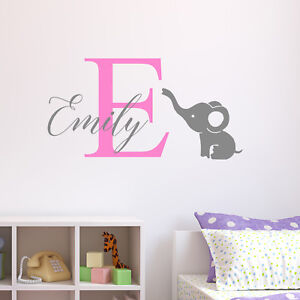 Personalised-Elephant-Wall-Sticker-Wall-Decal-Childrens-Kids-Nursery-Bedroom