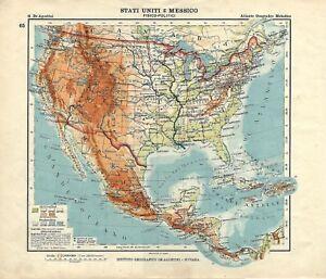 Cartina Geografica Politica Del Messico.Carta Geografica Antica Stati Uniti D America Messico 1914 Old Antique Map Ebay
