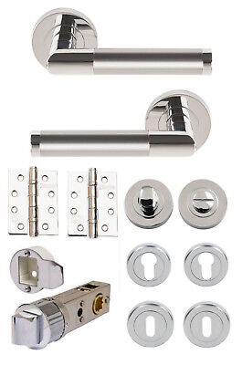 Satin Nickel Excel 3675 Athena Privacy Lever on Round Rose Polished Chrome