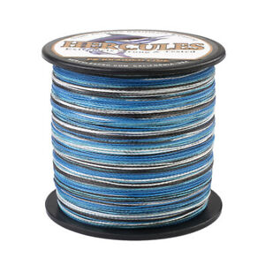 500M-547Yds-50LB-Test-Camo-Blue-Hercules-PE-Braid-Fishing-Line-4-Strands-Spinner