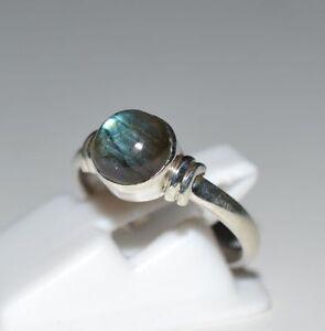 Fuego-Azul-Labradorita-925-plata-esterlina-solida-hecha-a-mano-Anillo-Tamano-F-a-Z1-2