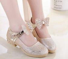 3b739e266c7 Girls Child Bow Princess Shoes Glitter Prom Ballet Party Dress Kid Flat  Heels
