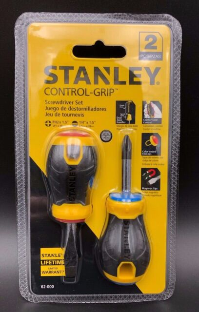 New 2-Piece-Free Shipping STANLEY 62-000 Stubby Cushion Grip Screwdriver Set