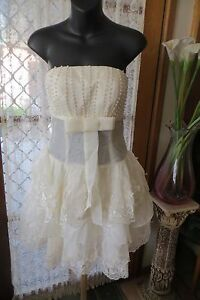 VINTAGE-Style-FASHION-2-YOU-Cr-Lace-Beads-Strapless-DRESS-Sz-8-10-NWT