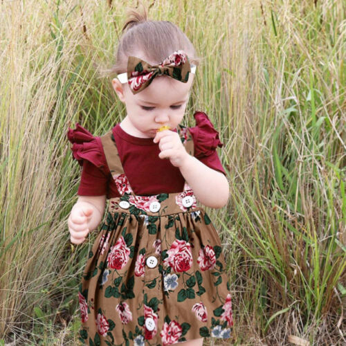 3Pcs Baby Toddler Girls Kids Overalls Skirt Headband+Romper Fashion Outfits