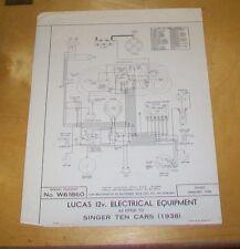 SINGER TEN CARS. 1938 WIRING DIAGRAM LUCAS W.61860