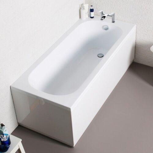 Single Ended Straight Modern Bath Tub Drilled Tap Holes Uk Made White Acrylic Ebay