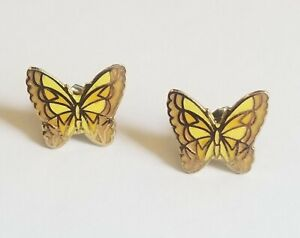 ESTATE-VINTAGE-GOLD-CLOISONNE-ENAMEL-BUTTERFLY-PIERCED-EARRINGS