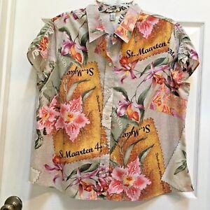CARIBBEAN-JOE-Shirt-Extra-Large-Jamaica-St-Maarten-Cayman-SS-Orchids