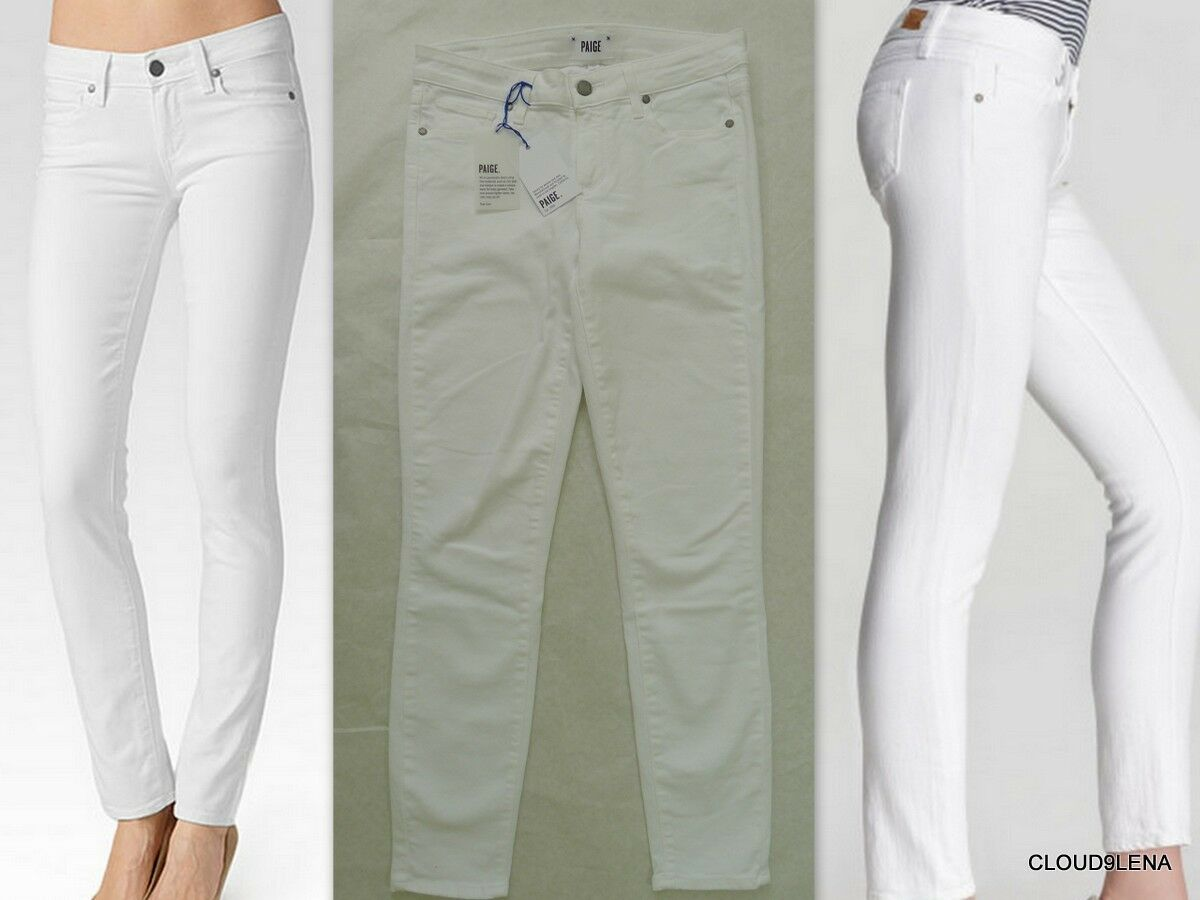 NWT PAIGE Anthropologie VERDUGO Ankle Optic White Size 29 Made in USA