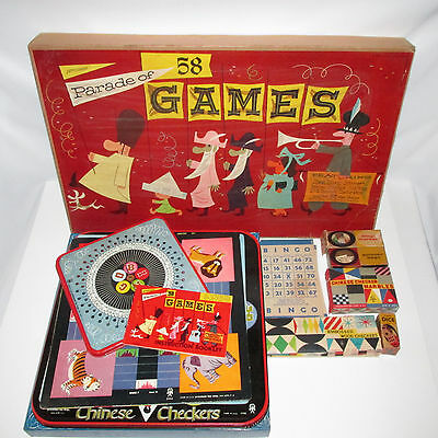 Vintage Pressman Parade Of 58 Games Metal Wood Pieces Complete 1950's