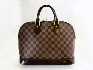 Louis-Vuitton-Hand-Bag-Alma-Ebene-N51131-Browns-Damier-Used-LV