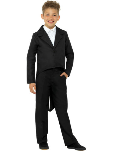Childs Showman Magician Magic Act Black Tailcoat Jacket Costume Small 4-6