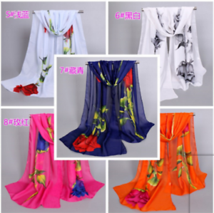 e3ddf6fb27 Fashion Women's Long Rose Flower Print Chiffon Scart Soft Wrap Lady ...