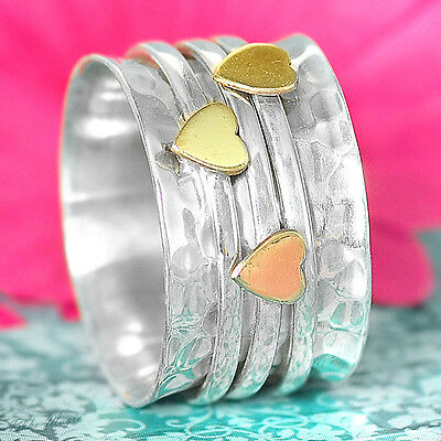 Sterling Silver 925 Spinning Ring Hearts Thick Meditation Spin Spinner Boho Co2