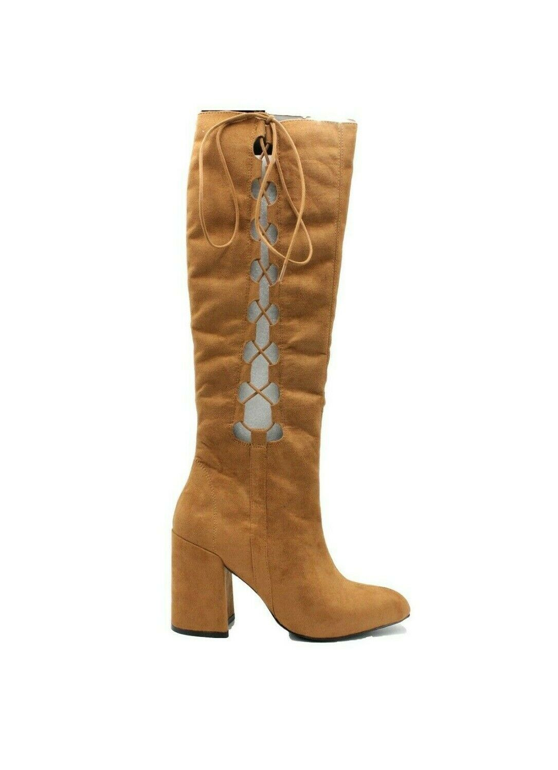 NASTY GAL Cognac Side Story Lace-Up Boots - Size 9 - NEW