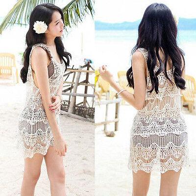 Women Lace Crochet Sleeveless Swimwear Bikini Cover Up Beach Hollow out Dress OK