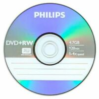 5 Philips 4x Dvd+rw Dvdrw Rewritable Disc 4.7gb Branded Logo In Paper Sleeve