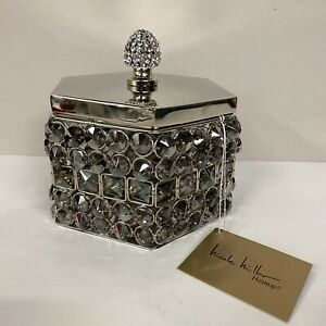 Nicole Miller Home Silver Jewelry Trinket Box with Lid ...