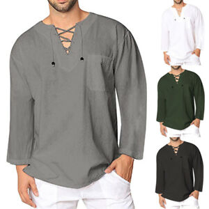 f27e00d72 La imagen se está cargando Moderna-para-Hombre-Camiseta -Casual-Algodon-Lino-Hippy-