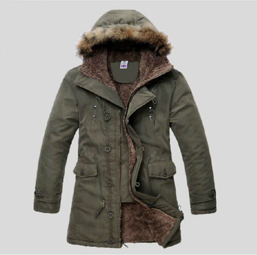 Men/'s Casual Winter Fur Furry Lining Hooded Military Long Coat Jacket Parka XXL