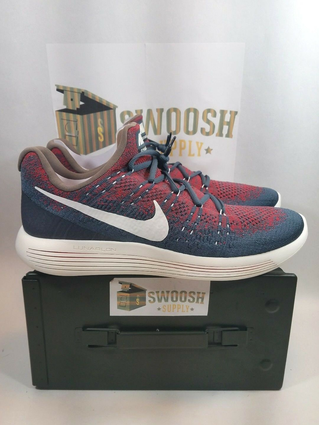 Nike LunarEpic Low Flyknit 2 Gyakusou Running 880283-400 Blue Red Mens size 14 Seasonal clearance sale