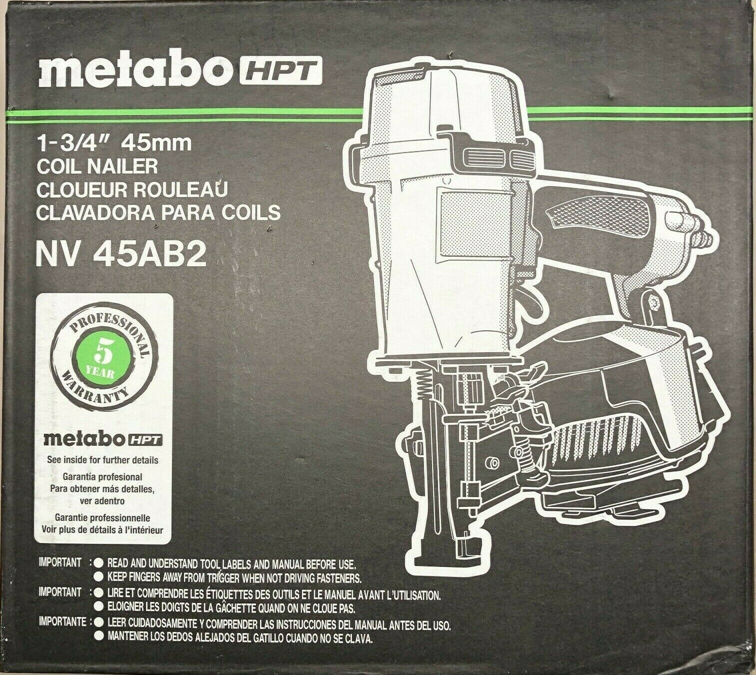 Metabo HPT/Hitachi NV45AB2 Coil Roofing Nailer Nail Gun NEW in Box. Buy it now for 259.00