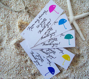 10 White Gift Tags Baby Shower Favour Bomboniere Personalised Thank Umbrella