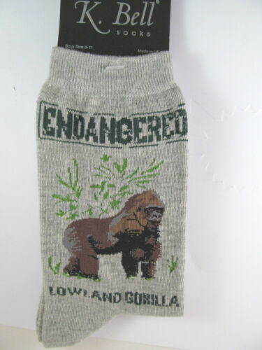 K.Bell Endangered Lowland Gorillas Charcoal Gray Ladies Womens Crew Socks New