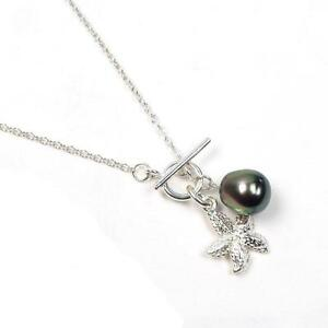 9-10MM-Tahitian-Black-Pearl-925-Silver-Necklace-W-Sea-Star-Charm-16-034-18-034-or-20-034
