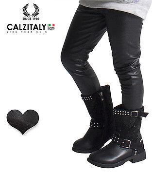 12 Anni Pantaloni Bimba Effetto Pelle CALZITALY Leggings Termici Bambina 6 Made In Italy | 8 Nero 10 4