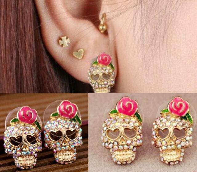 Pink Rose Skeleton Skull Women Cute Rhinestone Ear Studs Earrings