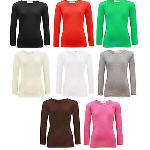 rentree-scolaire-Filles-Col-Rond-Manches-Longues-Haut-Uni-enfants-T-Shirt