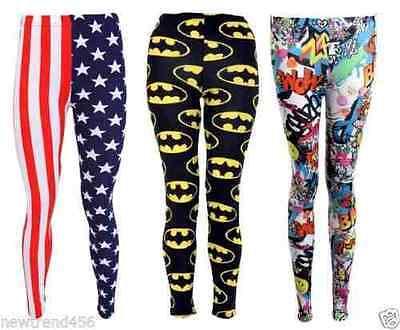 New Womens Side Panel Batman Logo Print Leggings Full Length Trouser Pants 8-14