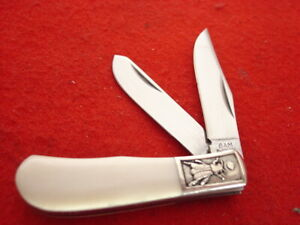"Sam McDowell Japan Made 2-1/2"" Bone 2 Blade Trapper Knife MINT"