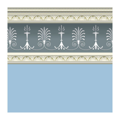 "# Dolls House 5840 Wallpaper /"" Georgian Blue /"" 60x43 cm 1:12 for Dollhouse New"