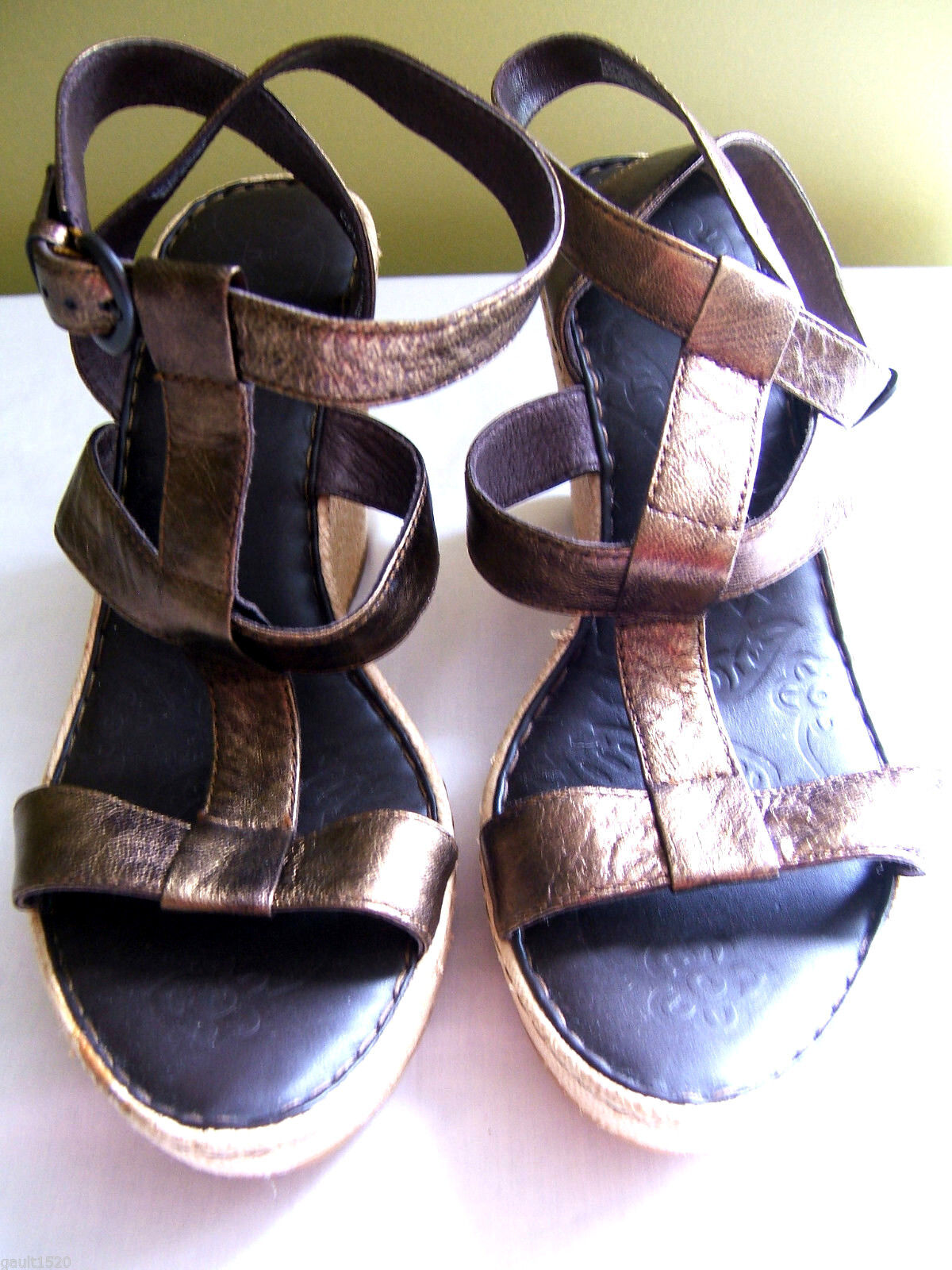 NEW Born Copper Metallic Marroneee Leather Strappy Straw Wedge Heels Sandals 10  125
