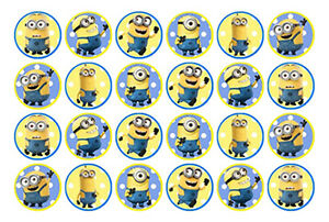 24 Minions Edible Mini Wafer Paper Cupcake Cup Cake Decoration