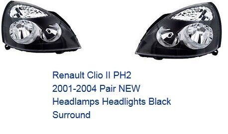RENAULT CLIO 2001 - 2005 HEADLIGHT HEADLAMP RIGHT AND LEFT PAIR OFF SIDE & NEAR