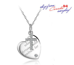 S925-Sterling-Silver-Heart-Shaped-Tag-amp-Cross-Pendant-W-or-W-O-Chain